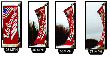 Lamp post  flags page -wind test
